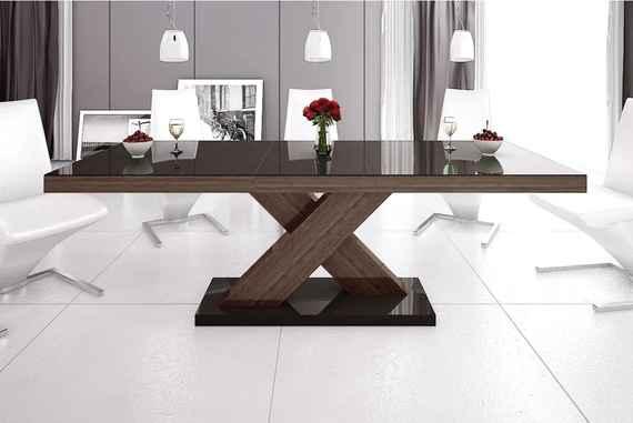 0bcef739fc6e6 Luxusný jedálenský stôl XENON (hnedá / dub / hnedá) DOPRAVA ZADARMO