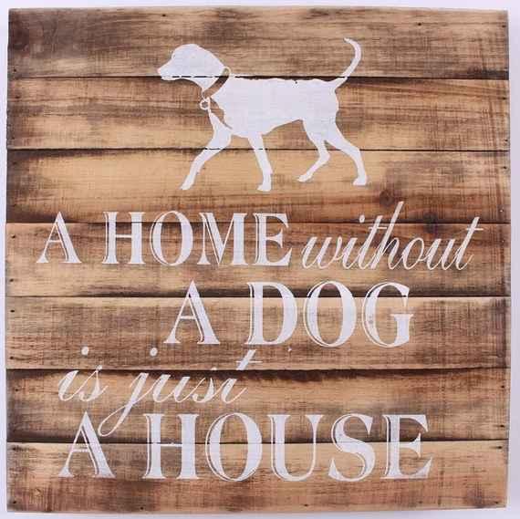 d8a349ef7d1 La finesse Drevená ceduľa Home without a dog