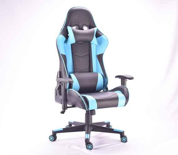 427b30442 BEZDOTEKU Kancelárska stolička MUSTANG čierna s modrými pruhmi