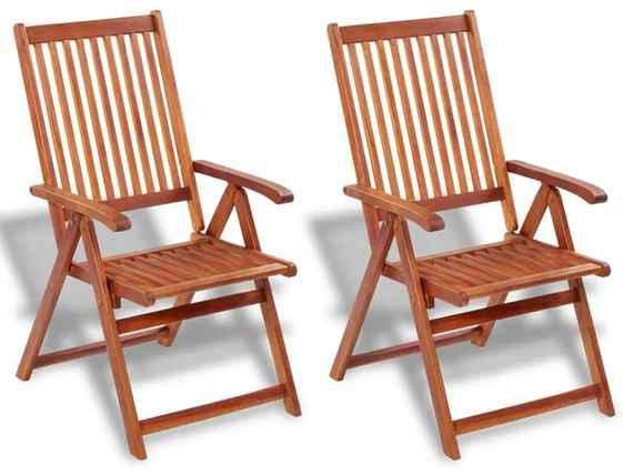 2051cc0e7a08b Skladacie záhradné stoličky 2 ks, akáciový masív, hnedé