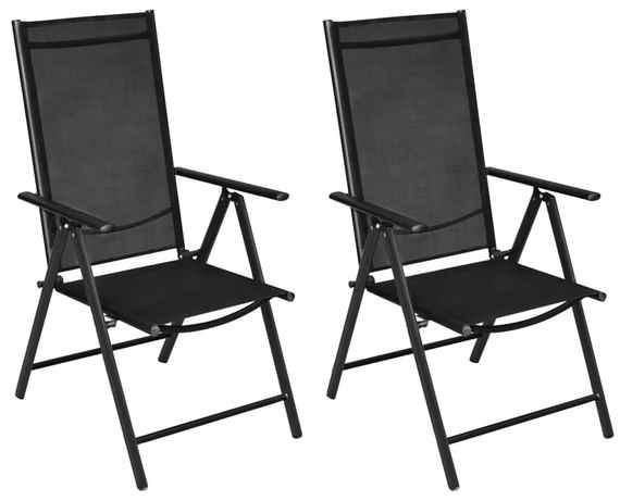 dc4fa410c8585 Skladacie záhradné stoličky 2 ks, hliník a textilén, čierne