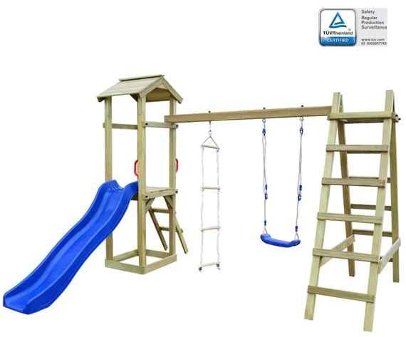 9f6872b85a2b2 Detské ihrisko+šmýkačka rebrík hojdačka 286x237x218cm FSC drevo