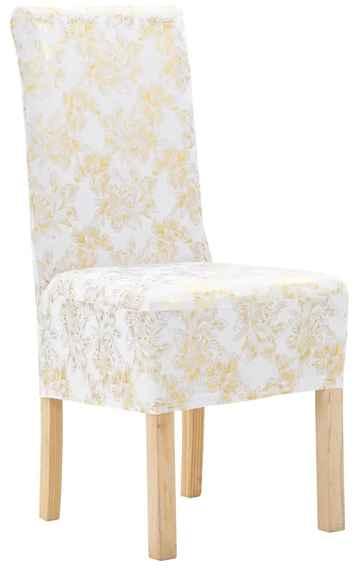 39a3df8853b4 Rovné návleky na stoličky 4 ks biele so zlatou potlačou naťahovacie