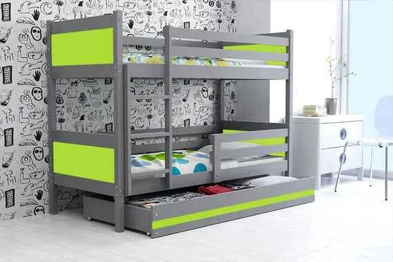 Poschodová posteľ RINO 190x80cm - Grafitová - Zelená 6d6c753bab5