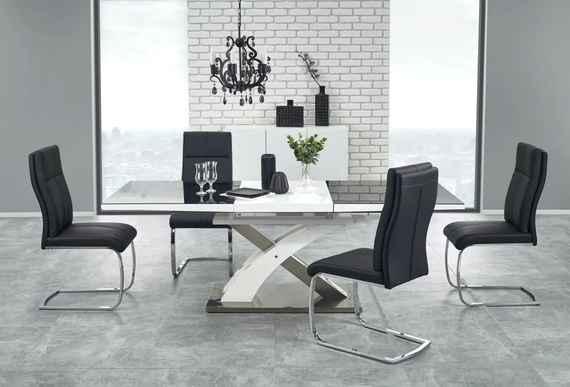 57a8b94d0df69 Jedálenský rozkladací stôl SANDOR 2 čierna / biela Halmar