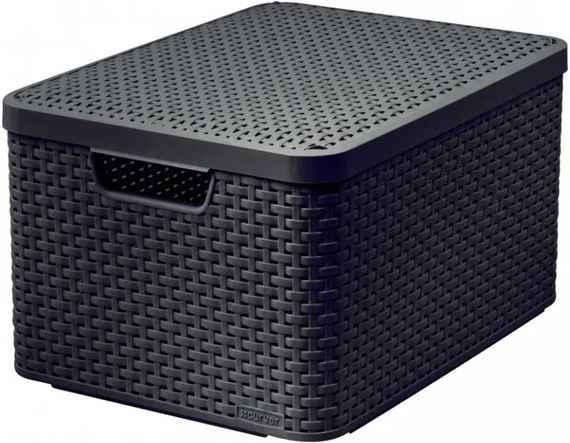 6f5277e08 Plastový úložný STYLE BOX s víkem - L - hnědý CURVER