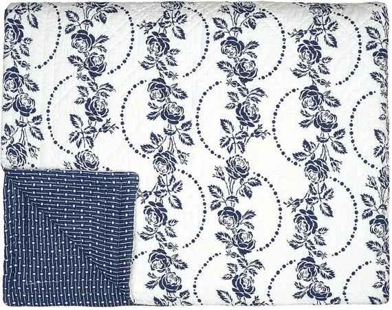 Modro-biely pléd cez posteľ Green Gate Fleur Blue 1f07d22a26