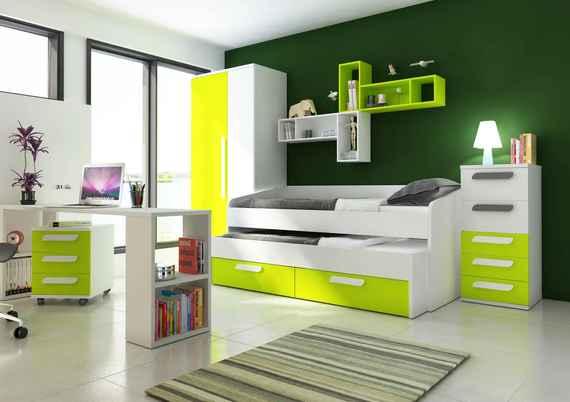 de05235e91337 463,04 EUR Detská izba s prístelkou B - zelená - Detská posteľ s prístelkou  B