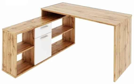 0fe633911d TEMPO KONDELA Noe New rohový písací stolík dub wotan   biela
