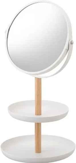 c62164926 Biele zrkadlo s úložnými miskami a detailom z bukového dreva YAMAZAKI Tosca
