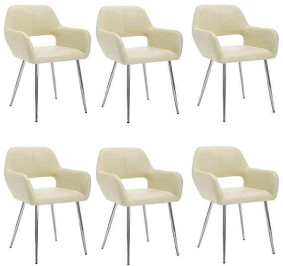 139ab4decf71d Jedálenské stoličky 6 ks poťah z umelej kože 57x54x81cm krémové