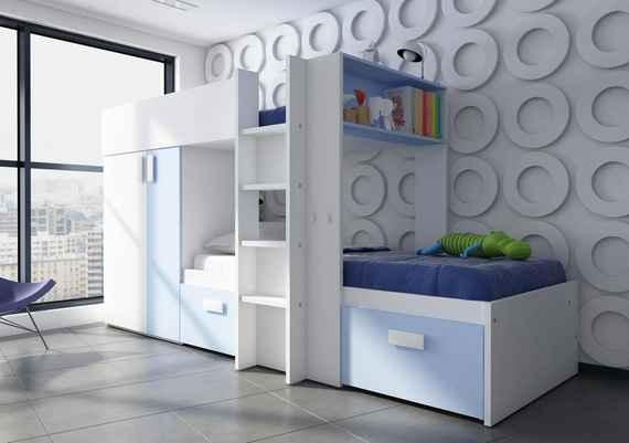 a2caa1ed87 Poschodová posteľ BO3 - bielo modrá kombinácia