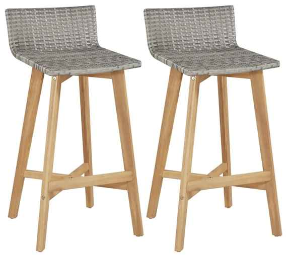 8c361e4bd8e9 Barové stoličky 2 ks polyratan masívne akáciové drevo 40x45x90 cm