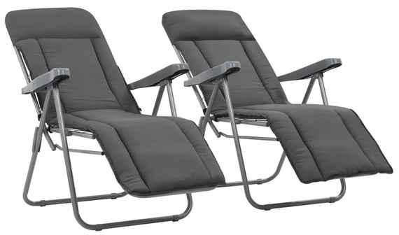 28edcb508d8b Skladacie záhradné stoličky s podložkou 2 ks sivé