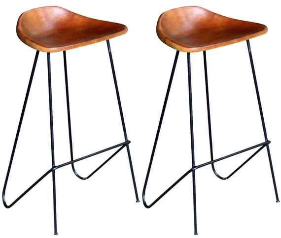 2b2f0c31167cd Barové stoličky z pravej kože, 2 ks, hnedé
