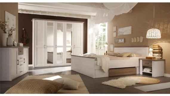 3f722e5bda5d9 Spálňový komplet (posteľ, 2 nočné stolíky, skriňa), pínia biela/dub