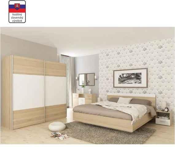 11b0f566a482b Spálňový komplet (posteľ 160x200 cm), dub sonoma/biela, GABRIELA