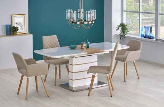8a31ec9c5602c 392,00 EUR Jedálenský stôl rozkladací TORONTO biely / dub zlatý Halmar