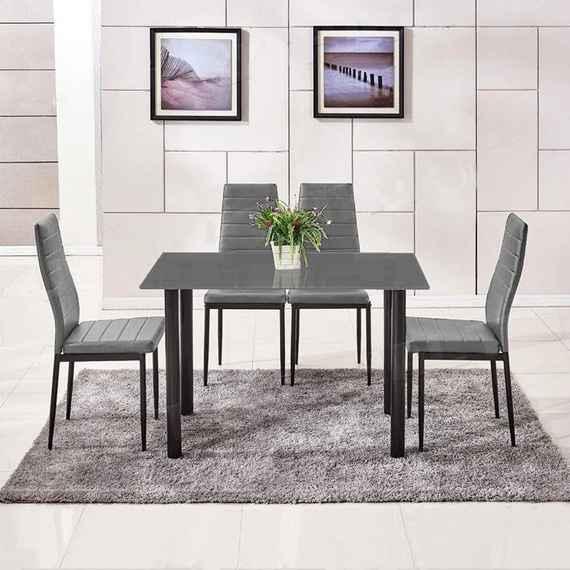 2ea24fe334c87 73,21 EUR Jedálenský set 4x stolička + stôl Catini AMALIA - sivá