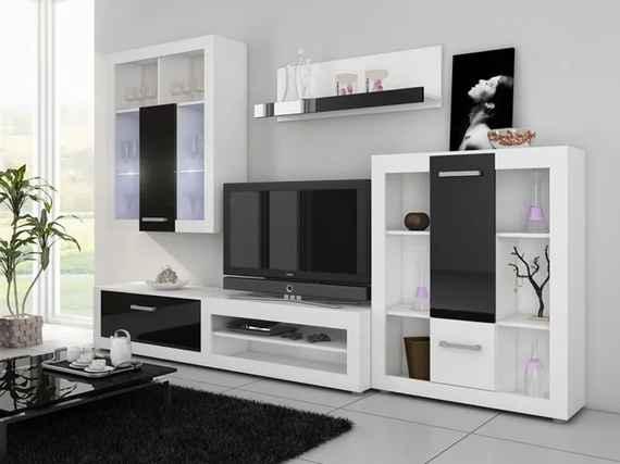 afdf5f244e16 WIP Obývacia stena VIKI Farba  Biela   čierny lesk