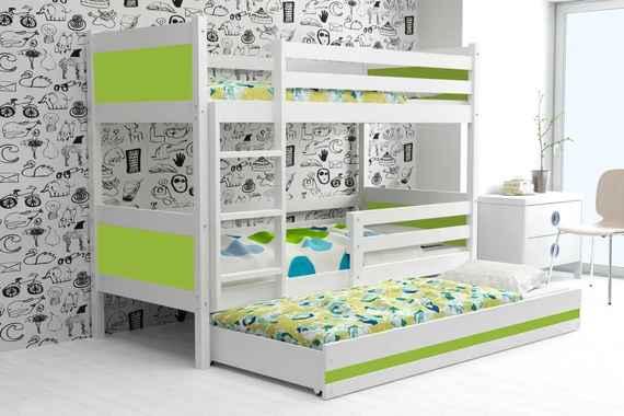 Poschodová posteľ s prístelkou RINO 3 - 190x80cm - Biely - Zelený 05534d5a93a